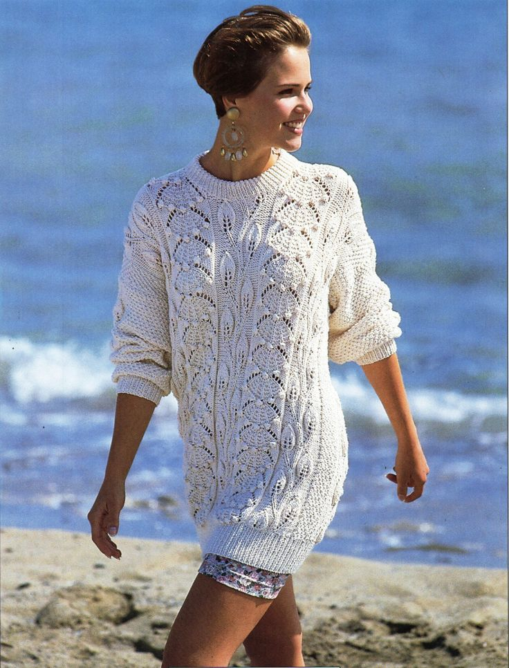 womens sweater knitting pattern long length jumper leaf design 30-38 inch DK / 8 ply womens knitting pattern pdf instant download by Hobohooks on Etsy
