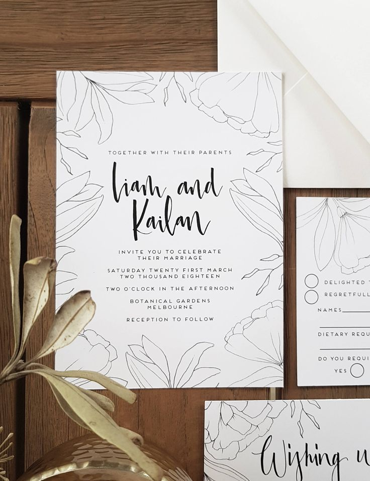 MINIMAL BLOOMSWedding Invitation SuiteHand drawn 409 best