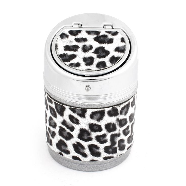 Unique Bargains Portable Metal Cylinder Shaped Leopard Printed Ashtray for Car, White Black