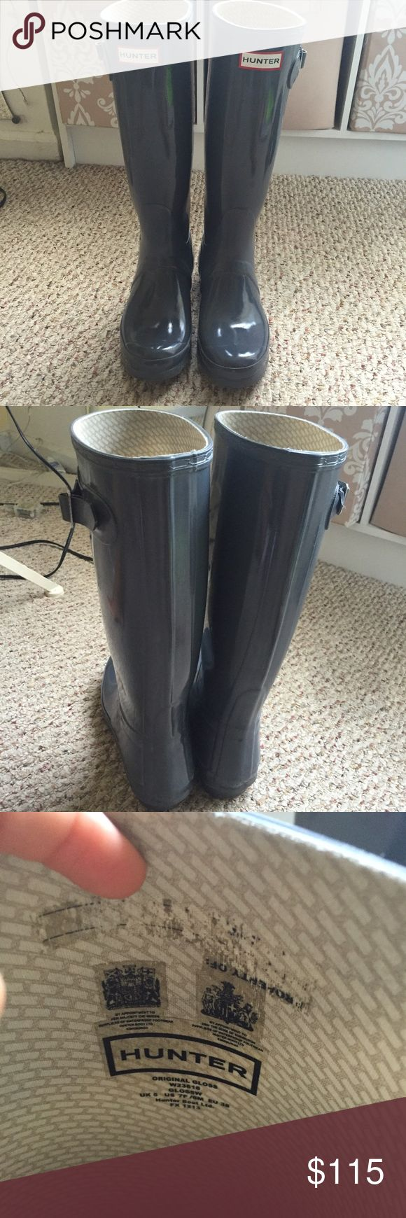 Grey glossy tall hunter boots size 7 In perfect condition! They have some dirt on the bottom but that can be easily washed off, would be willing to possibly trade for black short hunter boots size 7 Hunter Boots Shoes Winter & Rain Boots