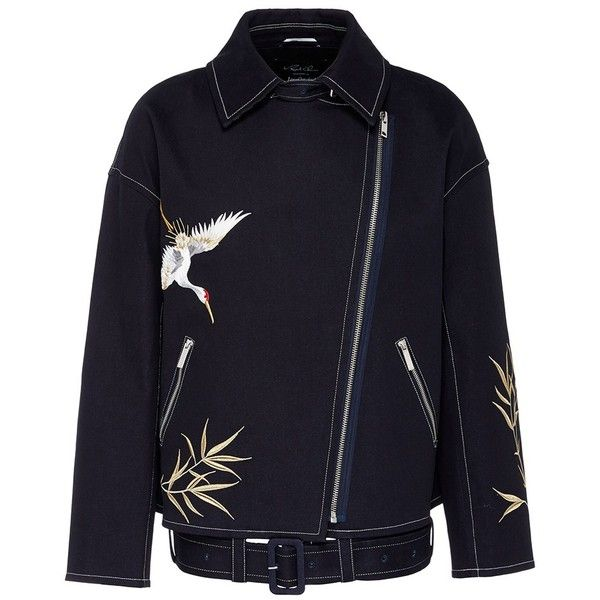 Angel Chen Crane embroidered oversized unisex denim jacket ($760) ❤ liked on Polyvore featuring men's fashion, men's clothing, men's outerwear, men's jackets, blue, mens oversized denim jacket, mens blue jean jacket, mens blue jacket and men's embroidered bomber jacket