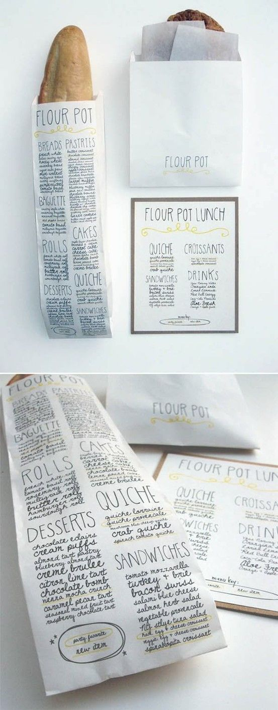 This package design uses hand written type to give off an earthy/organic feel.  The type has good alignment and reads the menu from the restaurant or cafe.  The subtle use of yellow breaks up the headline and gives a nice contrast.
