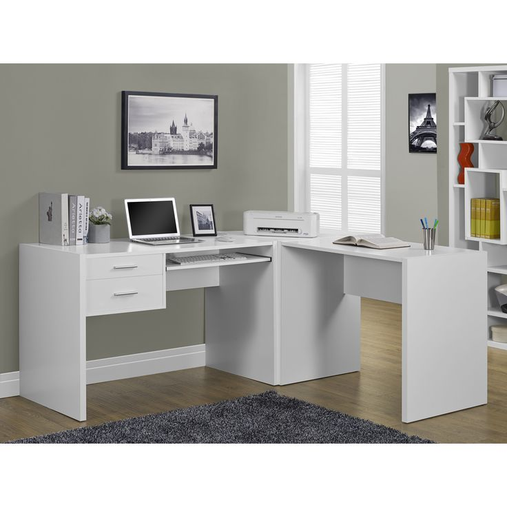 Complete your L-shaped desk with this hollow-core corner wedge. This piece has plenty of surface space for spreading out your work and is finished in white for a seamless blend into your decor.