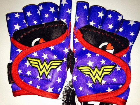G-Loves Australia - Wonder Woman blue white stars with red trim and logo motif Workout Gloves | gym gloves, weightlifting, Australia, women, g-loves, workout, bodybuilding gloves