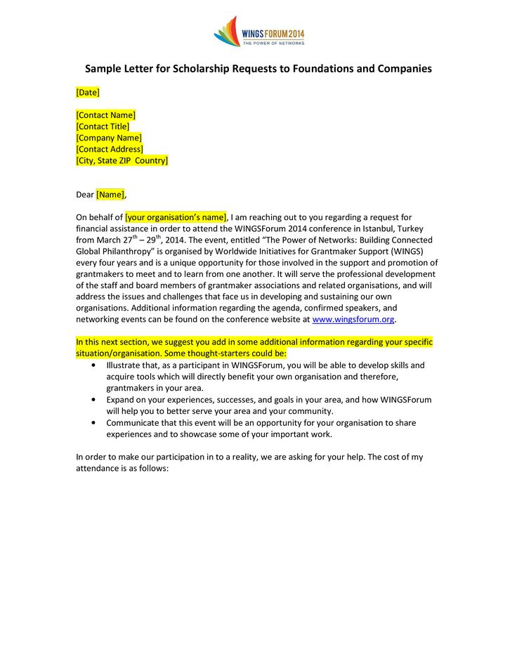 Scholarship Request Application Letter How to write a