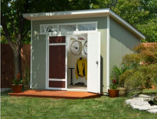 """Time for everyone to be thinking outdoors! Thanks to reader Marc for this tip: This cute little midcentury modern shed (or playhouse? Or outdoor office?) — the """"Aston"""" — is currently on sale for $999 through May 29 — shipping to your door included — via Costco. It's not a biggie, just 10′ x 7'5″, …"""