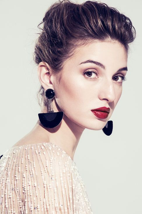 María Valverde wearing a beaded top, geometric earrings and makeup by Giorgio #Armani