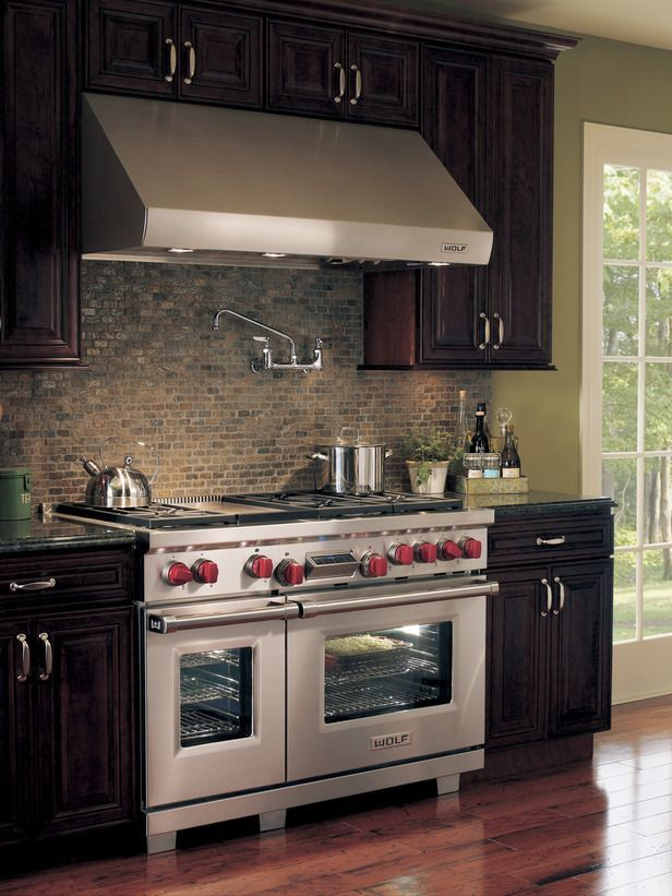 Dream Kitchen Alert: The ultimate chef's stove (by Wolf).  Dual fuel allows for precise gas stovetop cooking, while the electric-heated convection ovens ensure even baking temps and easy cleaning. http://www.hgtv.com/kitchens/dreamy-kitchen-appliances/pictures/page-4.html?soc=pinterest