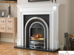 "The Flamerite Fires Aubade 48"" Electric Fireplace Suite is easy to  install, floor standing fireplace suite that can sit flat against any wall  This Flamerite Tennyson electric fire comes with a Radia Flame 3D picture which produces a strong and radiant flame image with a deep fuel reflection  Approx. 40,000 hours LED life  This stunning Flamerite electric fireplace suite incorporates a 1kW/2kW heater and 'flame effect only' setting.  Internal manual override and remote storage behind ashpan…"