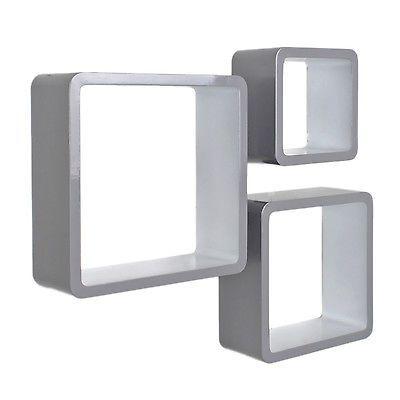 3er Set Lounge Cube Regal Design Retro 70er Wandregal Hängeregal Grau Weiß
