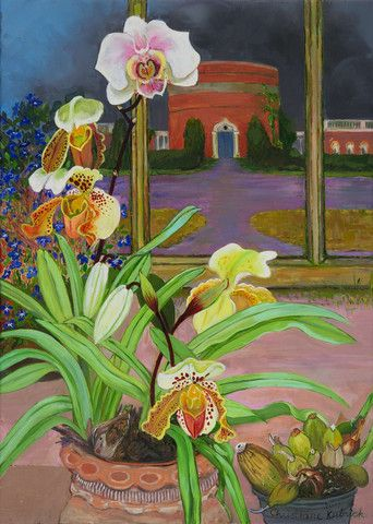 ~ Christiane Kubrick - White Gladioli in the Mirror Orchid & Water Tower