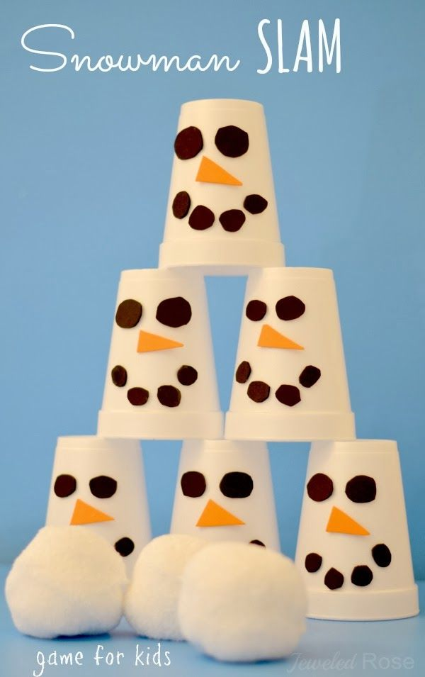 Snowman Slam- EASY TO MAKE game Styrofoam white cups, construction paper, glue, some white socks for the snow balls to throw