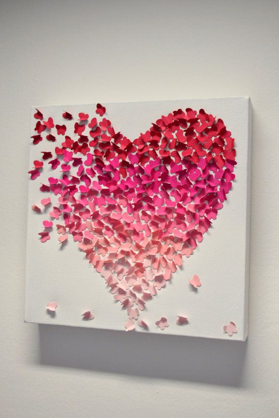 Pink Ombre Butterfly Heart/ 3D Butterfly Wall Art / Nursery Decor /Childrens Room / Engagement / Unique Wedding Gift - Made to Order via Etsy