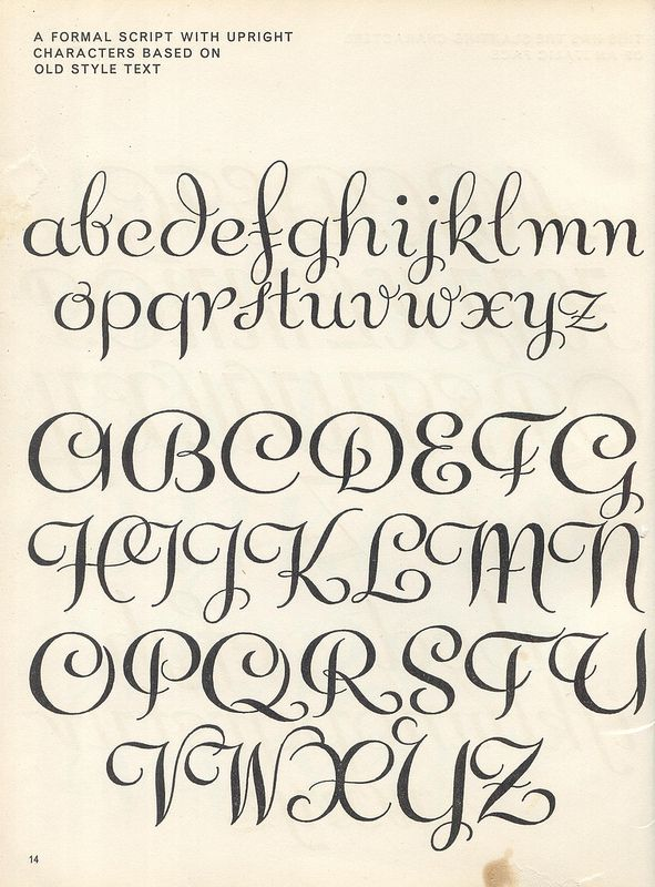 vintage script alphabet ~ Script Lettering (1957), M. Meijer ~ a formal script with upright characters based on old style text