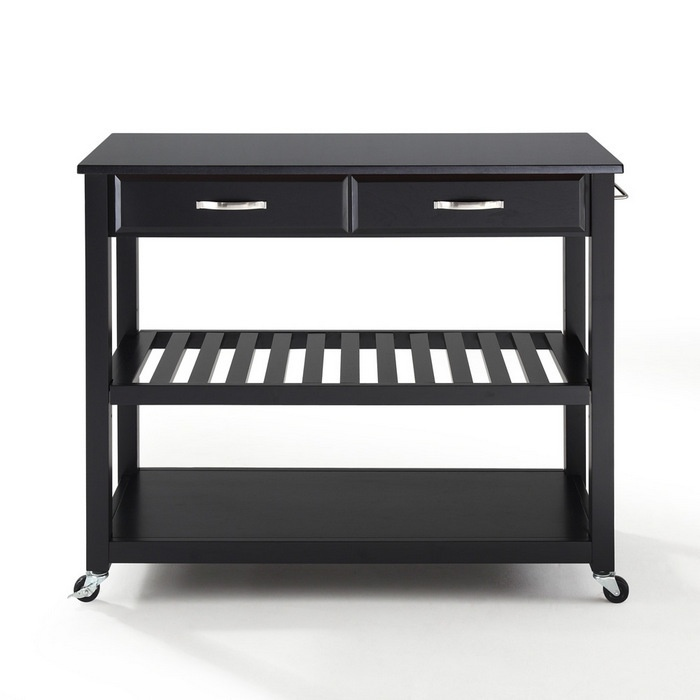 $369 Crosley Black Granite Kitchen Cart/Island W/ Optional Stool Storage