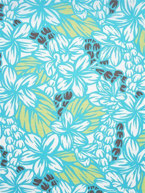 Plumeria&Mokihana Lei Turquois&Brownu0009 Poly Cotton LW-18-654