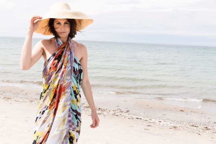 Ikatchy beach time - our silk scarf large enough to work as a sarong