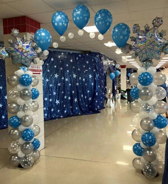 1000 images about winter wonderland balloon board on for Winter dance decorations