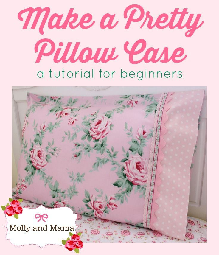 Sew this pretty pillow case with a ric rac, lace and braid trim, using this super easy tutorial from Molly and Mama. A great pillowcase project with lots of photos and simple instructions for beginners!