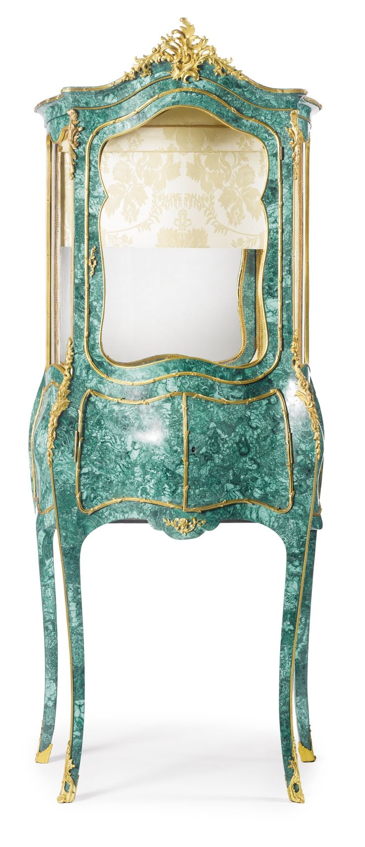 Auction company 751 walnut victorian marble top parlor table ca 1870 - A Louis Xv Style Gilt Bronze Mounted Malachite Veneered Vitrine France Early 20th Century