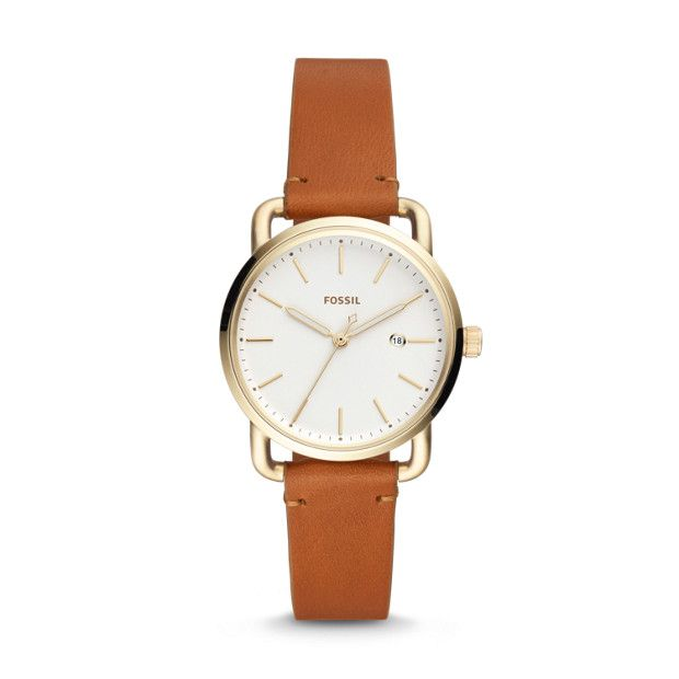 The Commuter Three-Hand Date Tan Leather Watch - Fossil