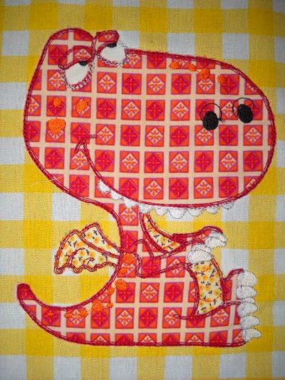 TS884 - #Cute #Dinos #Applique The Frayed Edge Applique Technique is super quick and easy. There's no satin stitch edging on the design giving it a low stitch count. Now you can create quilts in next to no time with this easy Frayed Edge Applique Technique!!! http://www.threadsnscissors.com/applique/761-ts884-cute-dinos-applique  #threadsnscissors #embroidery #machineembroidery