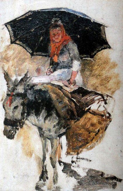 António de Carvalho da Silva Porto, Portuguese: Mulher montada sobre um burrinho, 12.3 x 8.1
