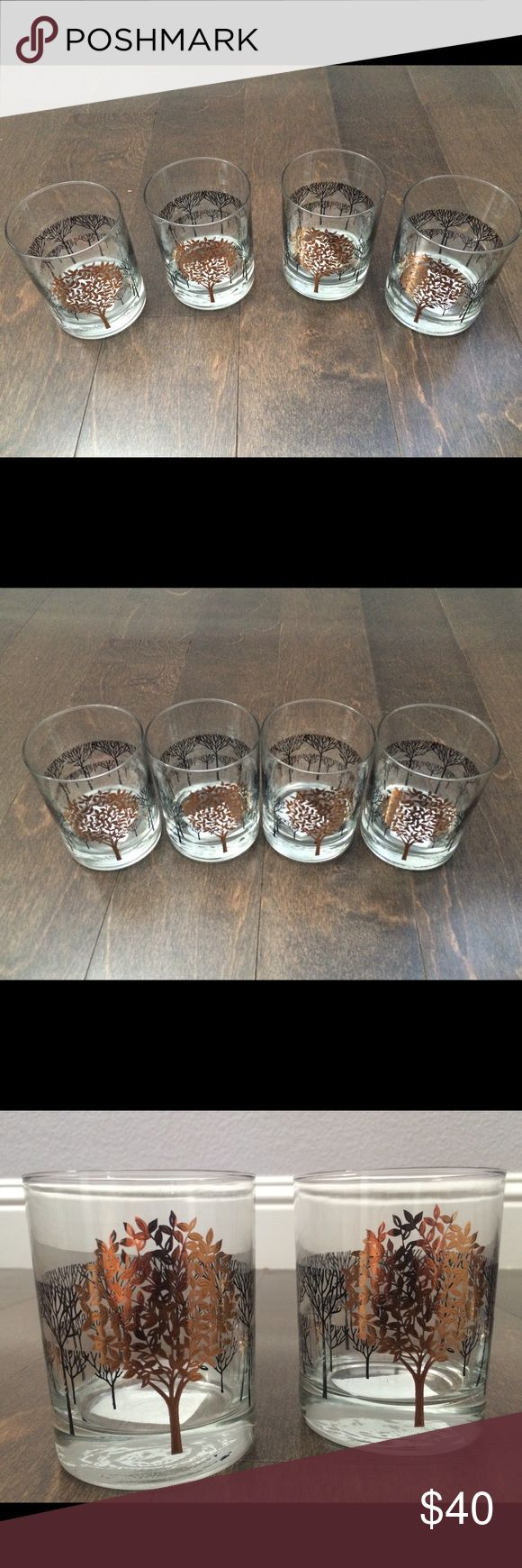 "🏡 Otagiri of Japan Golden Mist Tree Bar Glass Set Beautiful set of four quality, heavy weight bar glasses by Otagiri of Japan This pattern, called ""Golden Mist,"" features black trees with gold foiled trees. It originally appeared in the 1960s in all gold on an ivory backing; this version of the pattern with black and gold was popular in the 1970s; production ceased in 1983.  These glasses are in incredible, mint condition. Set of 4  Have an Anthropologie look , but are actually vintage…"