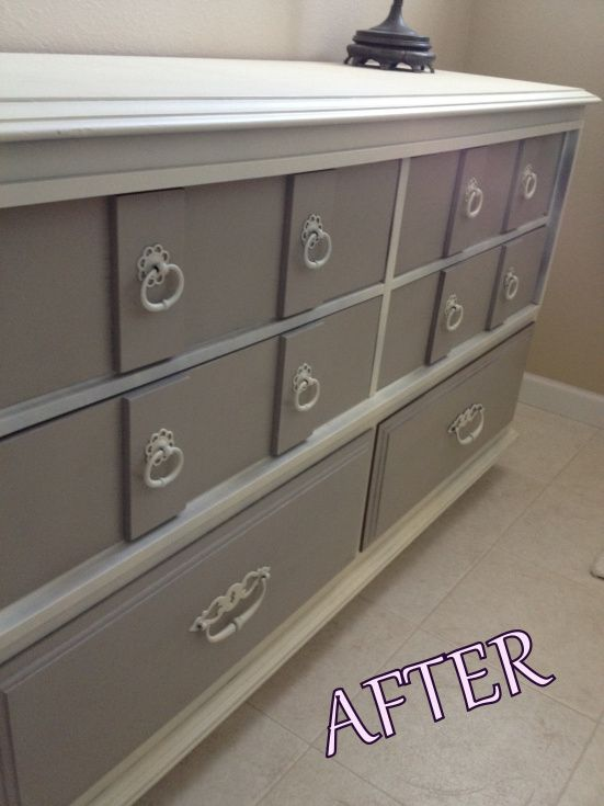 Exceptional Spray Paint Furniture Ideas Part - 12: Gray Spray Painted Dresser - Krylon Pebble And Krylon Ivory