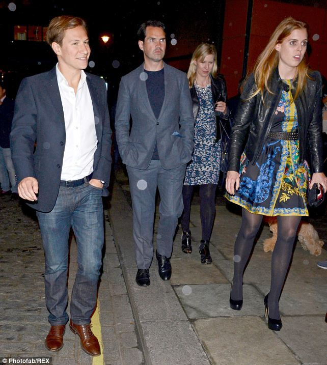 Dave Clark, Jimmy Carr, Karoline Copping and Princess Beatrice were spotted leaving Zuma Restaurant last night after a meal together