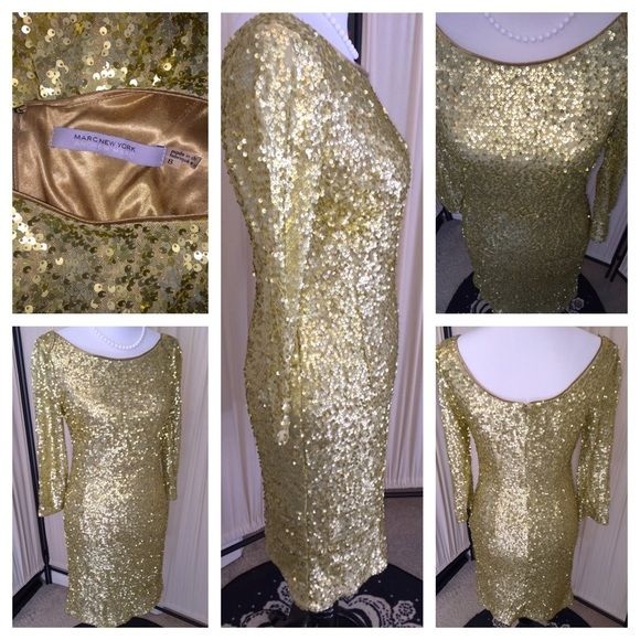 "Andrew Marc Gold Sequin Long Sleeve Dress Andrew Marc ""MarcNewYork"" fully sequined Gold Dress!  zipper back, long sleeve, knee length, fully lined. Form fitting with some stretch. Andrew Marc Dresses Long Sleeve"