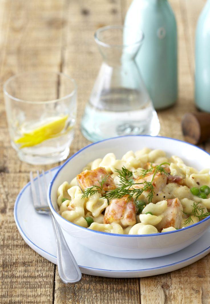 Extra-creamy haddock #Pasta with mascarpone, dill and peas