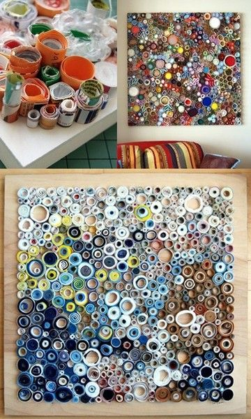 Coiled paper artwork: Wrap the paper strips or varing thicknesses around a pencil or pen (if you do it tight enough, it hold it's shape pretty well) For the larger circles, let out some of the slack.Then slide the roll off of the end and hot glue it to a canvas of your choosing