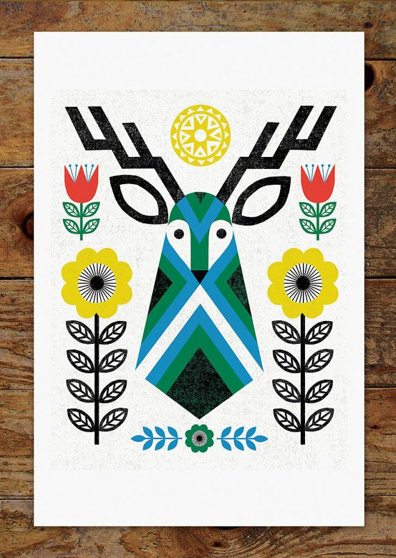 Folk Deer Scandinavian Folk Art 11x14 Art Print by groovygravy