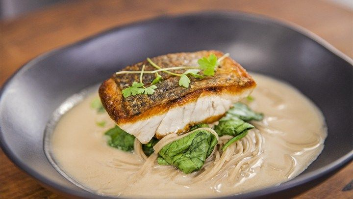 Easy Coconut Scented Broth with Seared Barramundi