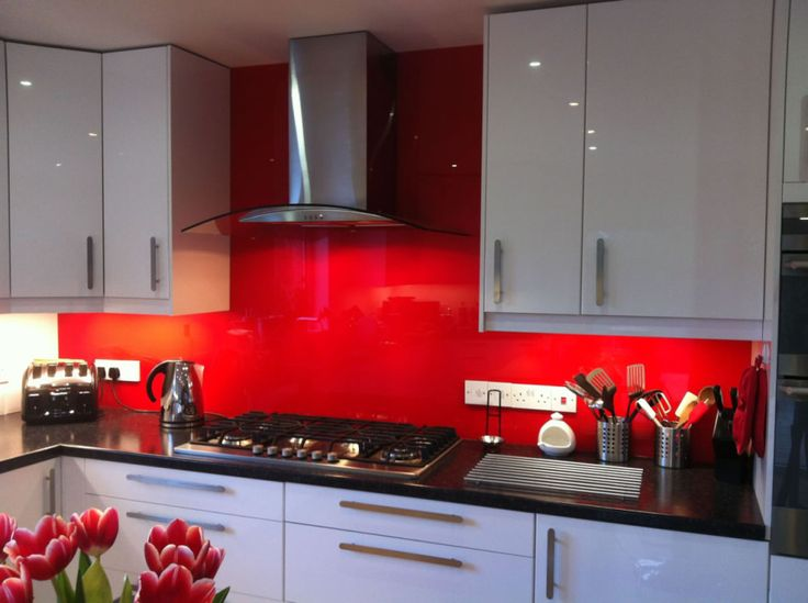 red splashback - black & stainless steel accessories. White Kitchen ...