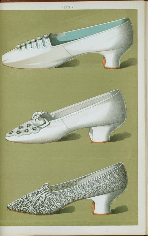 Shoe of white silk with small netted buttons resting on straps; white satin shoe embroidered in crystal beads and silk ... (1900)