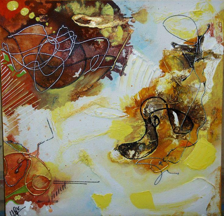 série 4 toiles - les couleurs de l'automne  40 x40 - Jaune