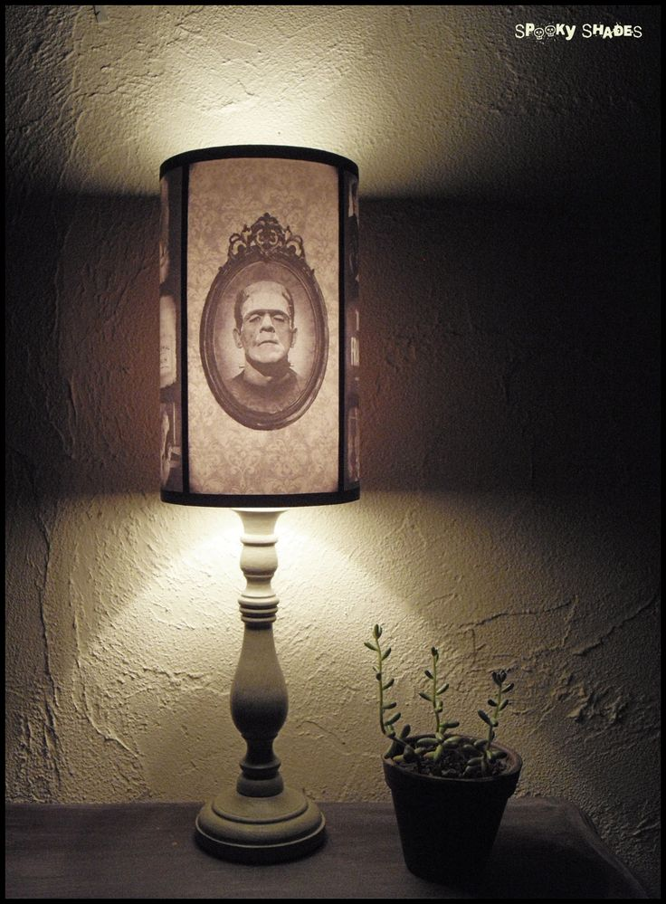 Frankensteins Bride lamp shade Lampshade - halloween decor, horror decor, horror movie, goth decor, damask lamp shade. €45.00, via Etsy.