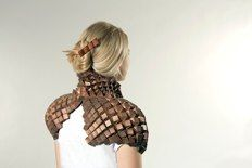 Tine DeRuysser Shoulder Cape,Copper and polyester