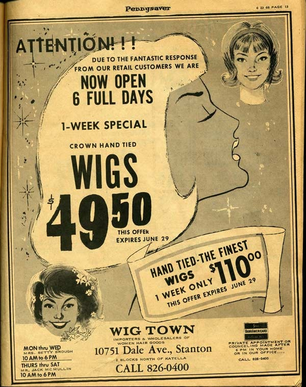 Another wig ad from the 1966 Pennysaver.