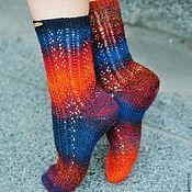 Аксессуары ручной работы. Ярмарка Мастеров - ручная работа Носочки Crazy socks сине-оранжевые. Handmade.