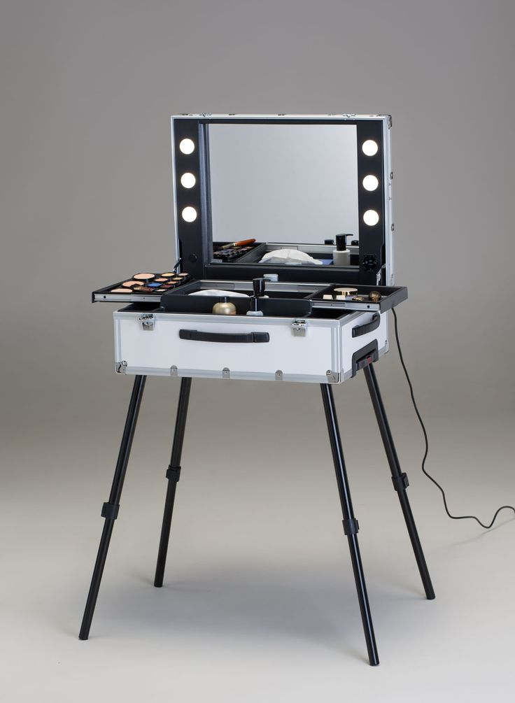 TR SPACIOUS WHITE MAKEUP STATION WITH SLIDING TRAYS AND LIGHTS The  Professional White Makeup