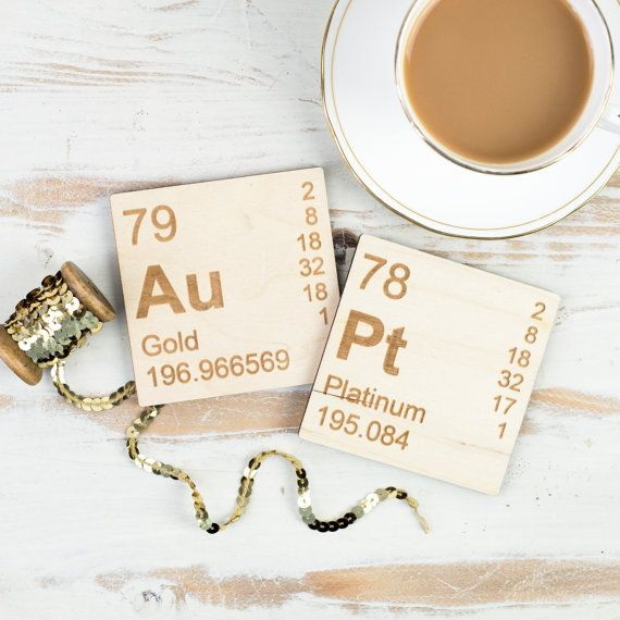 Periodic Table Wooden Coasters Set for Gold by NewtonAndTheApple