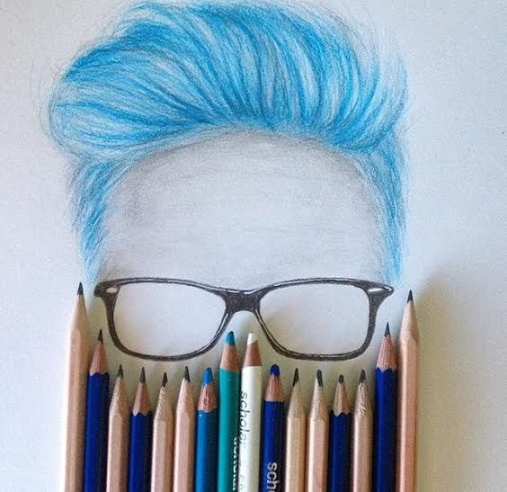 blue hair and glasses<------------Aka Tyler Oakley, i cant be the only one who saw this and thought that