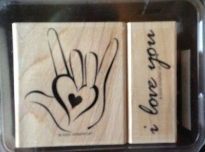 Stampin Up Rubber stamp 2 pc set I Love You ASL Sign 2000 USA Made Wood Mounted