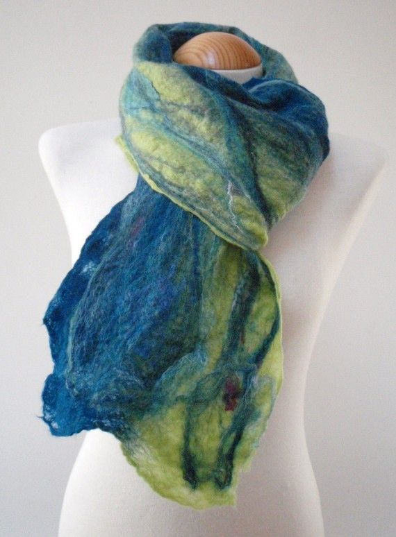 Maria Dent - Lime and Blue Felted Scarf by creativebumblebee
