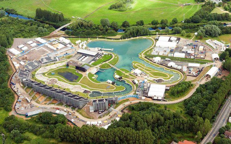 Aerial view of the Lee Valley White Water Centre,  host of the Olympic canoe and kayak events