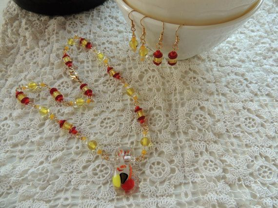 red yellow fused glass pendant necklace and by Homeforglasslovers