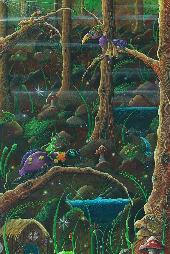 Original acrylic painting Fantasy forest  mushroom by feythcrafts, $350.00